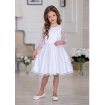 Платье нарядное белого цвета с верхним слоем нарядной сетки Шарлота