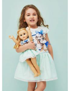 Платье мятного цвета с девочкой с собачкой cocoland
