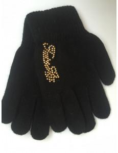 Перчатки осенние черного цвета с золотыми стразами