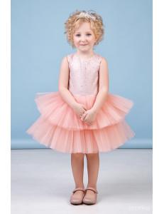 """Платье нарядное персикового цвета с многоярусной юбкой """"Фонтанчик"""""""